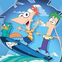 Phineas und Ferb auf einem Snowboard