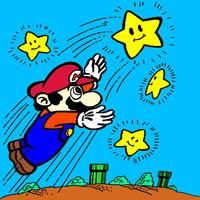 Super Mario zu den Sternen Fliegt