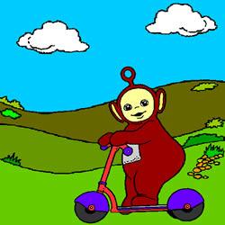 Po Auf einem Roller