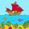 Färbung ein Schiff