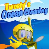 Tweety - Reinigung in den Ozean
