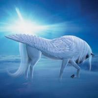 Weiß Flügel Pferd