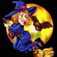 Halloween. Hexe auf Besen