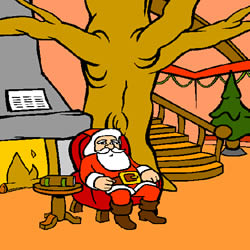Ausmalbild Weihnachtsmann-Werkstatt