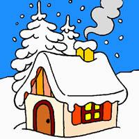 Haus im Winterwald Malvorlage