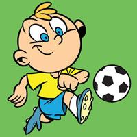 Junge mit Fußballkugel Färbung
