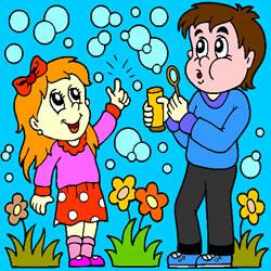 Kinder aufblasen Seifenblasen Färbung