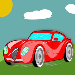 Der rote Sportwagen Puzzle