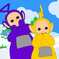 Teletubbies Sliding Down the Hill