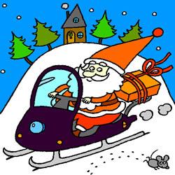 Weihnachtsmann auf einem Motorschlitten